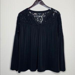 Lane Bryant Black Flowing Blouse 18 / 20 Lace
